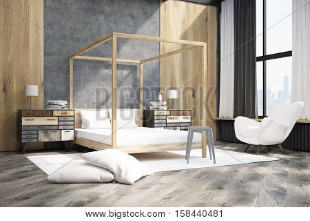 Side View Of A Bedroom With Pillared Bed