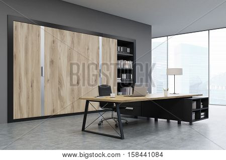 CEO office with large wooden doors panoramic windows big wooden table and a bookcase. 3d rendering. Mock up.