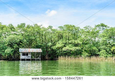 Wooden house on stilts with tin roof on riverbank in Guatemala Central America