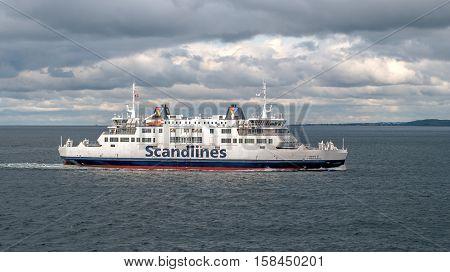 Helsingbog, Sweden - October 9, 2016: The passenger ferry on the line Helsingborg, Sweden - Helsingor, Denmark