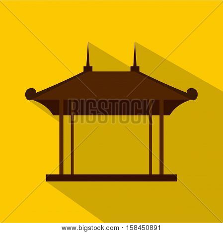 Wooden pavilion icon. Flat illustration of wooden pavilion vector icon for web isolated on yellow background