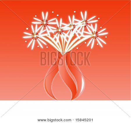 Orange flower fireworks vase