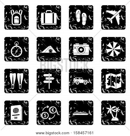 Travel icons set icons in grunge style isolated on white background. Vector illustration