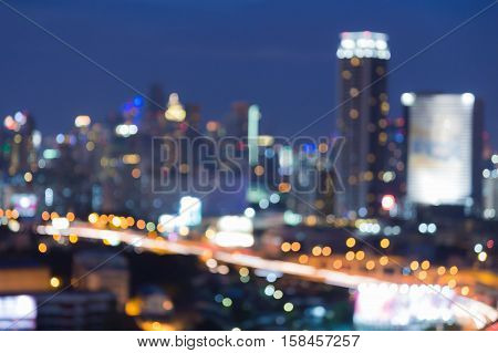 Blurred lights night view central business downtown, abstract background