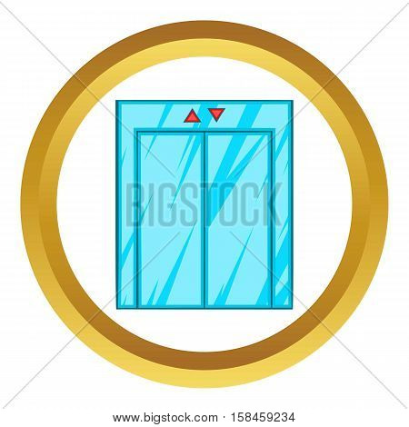 Elevator with closed door vector icon in golden circle, cartoon style isolated on white background
