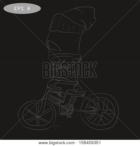 Cool cartoon cyclist on bike with glass. Toddler in cap riding. Vector illustration for t-shirt prints, logos, children products. Coolness. Sport.
