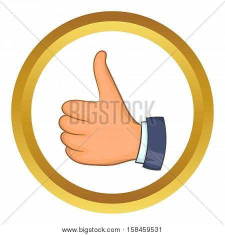 Hand with thumb up vector icon in golden circle, cartoon style isolated on white background