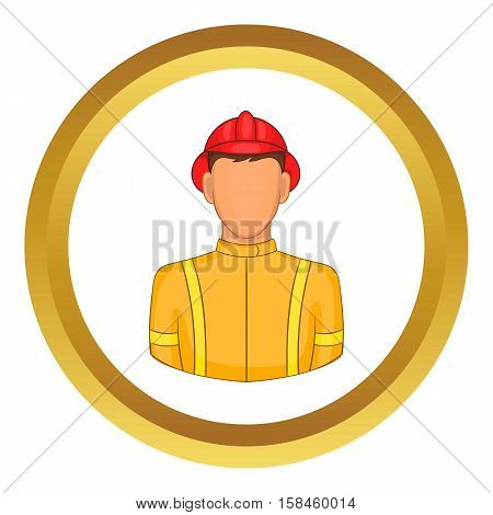 Firemen vector icon in golden circle, cartoon style isolated on white background