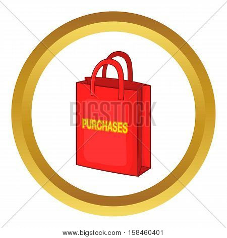 Red bag for shopping , with the inscription purchase vector icon in golden circle, cartoon style isolated on white background