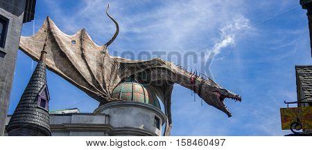 ORLANDO, FLORIDA / UNITED STATES - JUNE 22, 2016 - Wizarding World of Harry Potter - Diagon Alley - Dragon