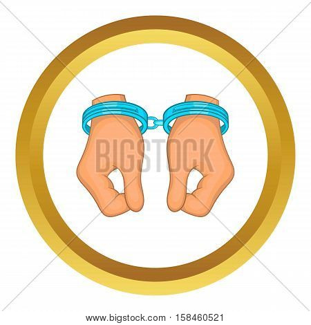 Hands in handcuffs vector icon in golden circle, cartoon style isolated on white background