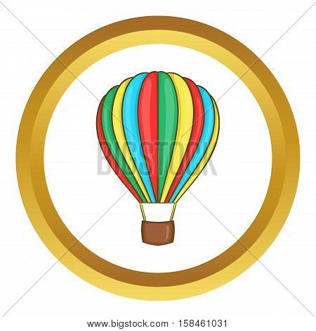Colorful air balloon vector icon in golden circle, cartoon style isolated on white background
