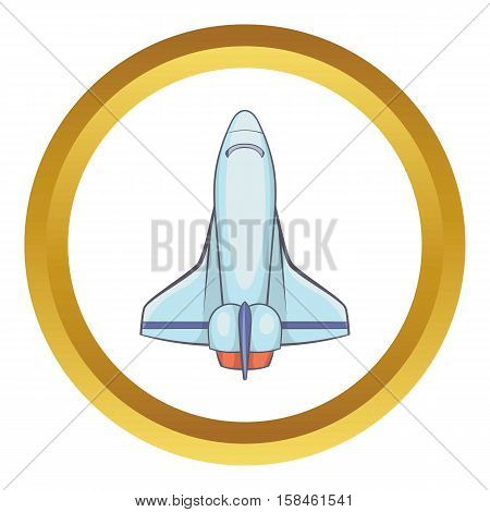 Plane vector icon in golden circle, cartoon style isolated on white background