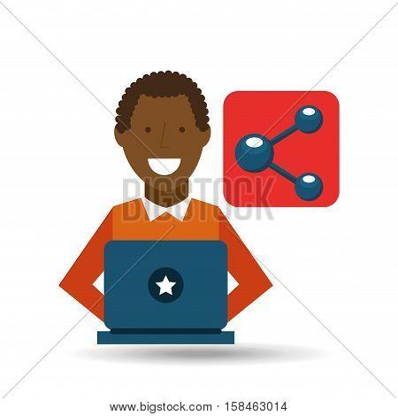 man afroamerican using laptop share media icon vector illustration eps 10