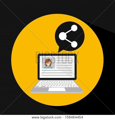 laptop social profile share vector illustration eps 10