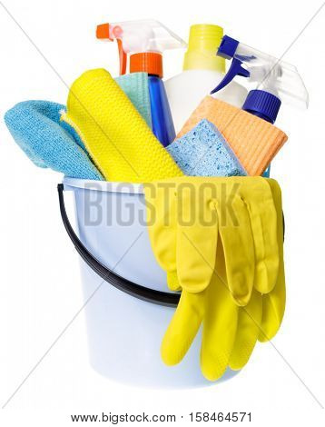 Plastic bucket with rubber protective gloves and cleaning supplies isolated on white background