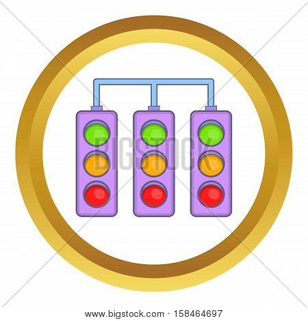Racing traffic lights vector icon in golden circle, cartoon style isolated on white background