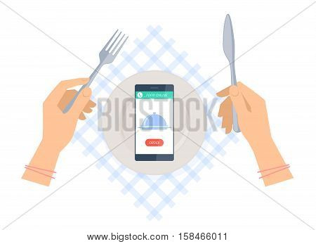 Woman is ordering meal in restaurant by phone. Flat vector concept illustration of hands with fork and knife plate on a table napkin smartphone with dish icon and order button. Food online delivery.