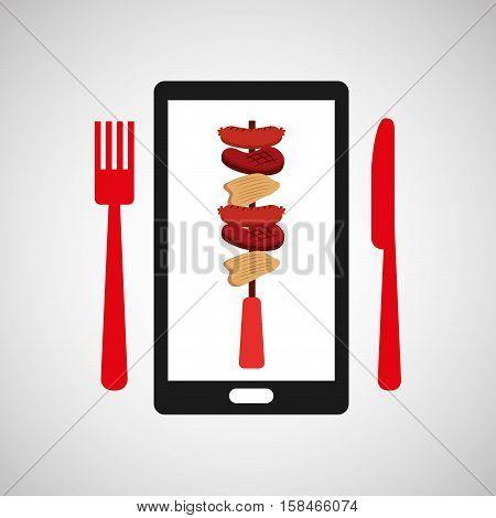 smartphone order skewers food online vector illustration eps 10