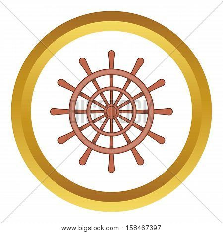 Wooden ship wheel vector icon in golden circle, cartoon style isolated on white background