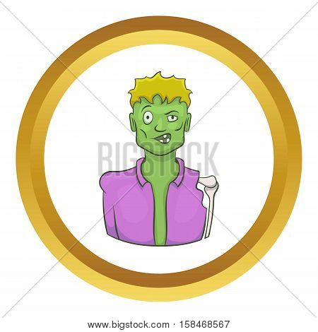 Halloween zombie vector icon in golden circle, cartoon style isolated on white background