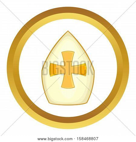 Pope hat vector icon in golden circle, cartoon style isolated on white background