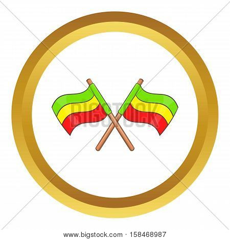 Rastafarian crossed flags vector icon in golden circle, cartoon style isolated on white background