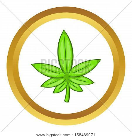 Cannabis leaf vector icon in golden circle, cartoon style isolated on white background