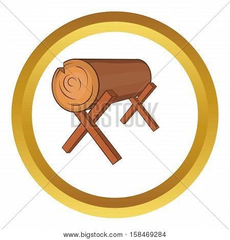 Log stand vector icon in golden circle, cartoon style isolated on white background