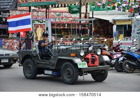 Giant Truck Carry Photo Of Recently Deceased Thailand King
