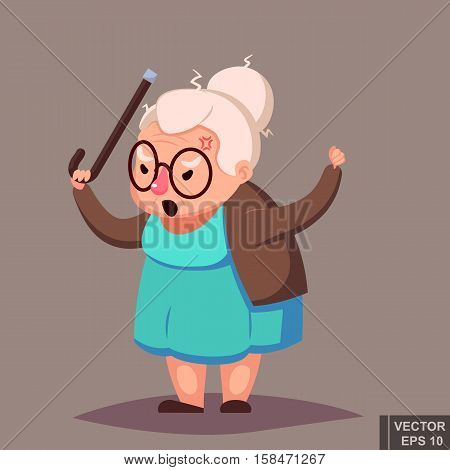 Cartoon Angry Old Woman Brandishing Her Cane. Senior Lady With Glasses Shouting Vector Illustration.