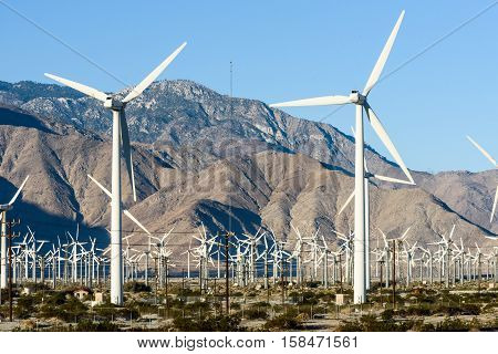 Wind Turbines With 3 Blades In Desert