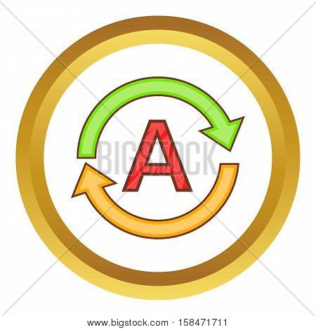 Translation language vector icon in golden circle, cartoon style isolated on white background