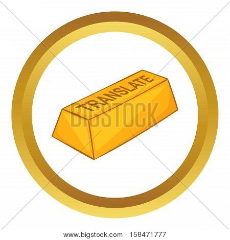 Translate button vector icon in golden circle, cartoon style isolated on white background