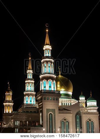 Moscow Cathedral Mosque. Night Photography. Beautiful light golden domes.