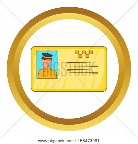 Document taxi driver vector icon in golden circle, cartoon style isolated on white background