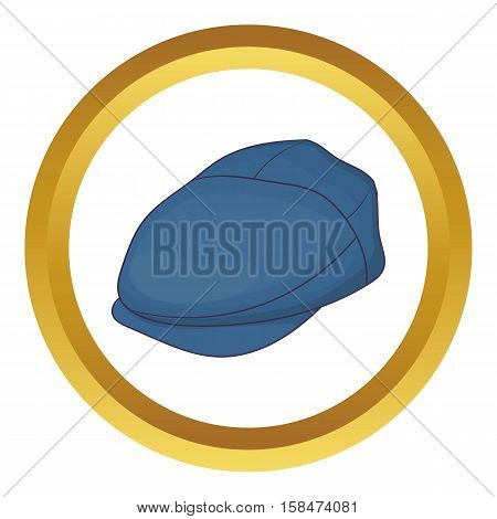 Cap driver vector icon in golden circle, cartoon style isolated on white background