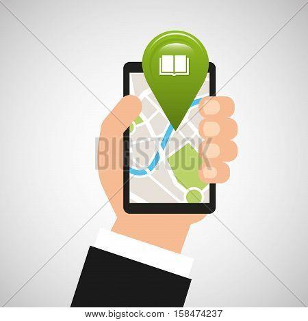 hand holds phone navigation app library vector illustration eps 10