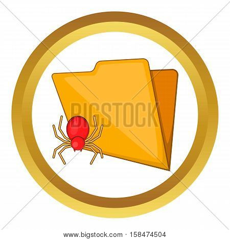 Folder with a bug vector icon in golden circle, cartoon style isolated on white background
