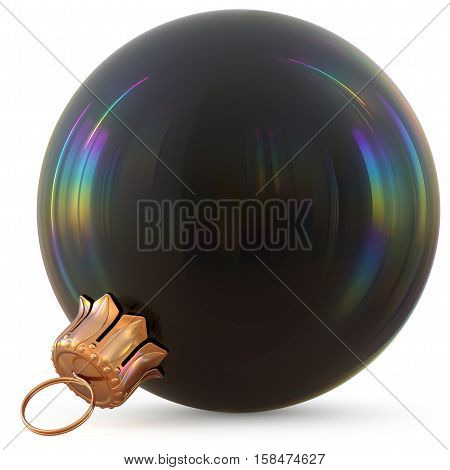 Christmas ball black New Year's Eve decoration bauble wintertime hanging adornment souvenir. Traditional ornament happy winter holidays Happy Merry Xmas symbol blank shiny classic. 3d illustration