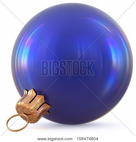 Christmas ball blue New Year's Eve decoration bauble wintertime hanging adornment souvenir. Traditional ornament happy winter holidays Happy Merry Xmas symbol blank shiny classic. 3d illustration