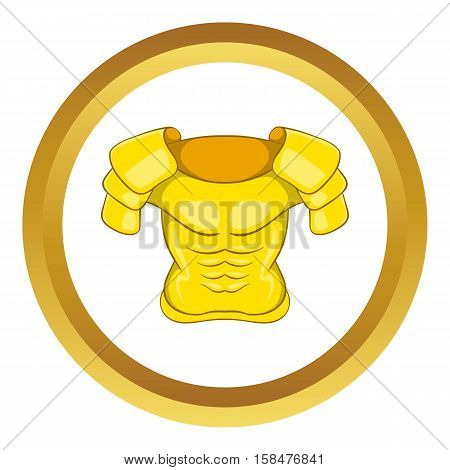Old armor vector icon in golden circle, cartoon style isolated on white background