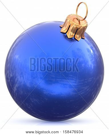 Christmas blue bauble New Year's Eve blue decoration hanging sphere shiny wintertime adornment souvenir. Traditional ornament happy winter holidays Merry Xmas symbol closeup. 3d illustration isolated