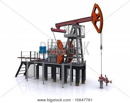 oil pump-jack on a white background