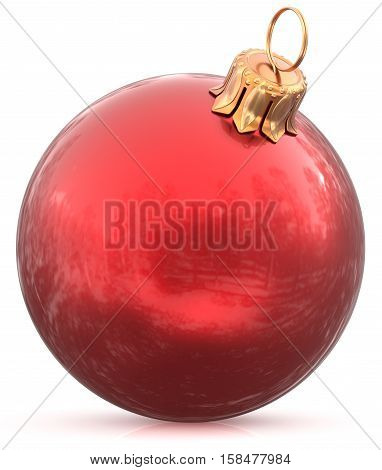 Christmas ball bauble New Year's Eve red decoration hanging sphere shiny wintertime adornment souvenir. Traditional ornament happy winter holidays Merry Xmas symbol closeup. 3d illustration isolated