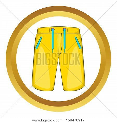 Breeches vector icon in golden circle, cartoon style isolated on white background