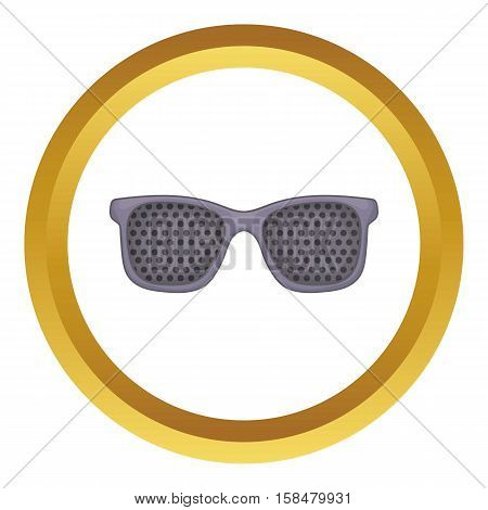 Perforating glasses vector icon in golden circle, cartoon style isolated on white background