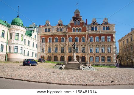 VYBORG, RUSSIA - AUGUST 08, 2016: A monument to the founder of Vyborg Swedish marshal Torgils Knutsson on the old city square. The historical landmark of the city Vyborg