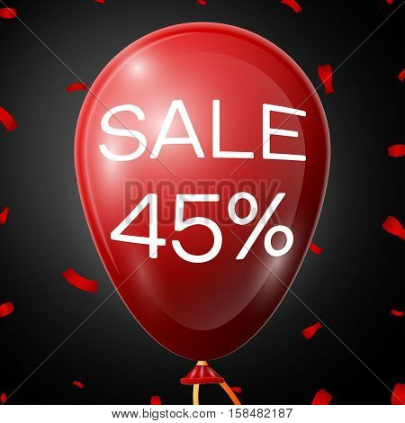 Red Balloon with 45 percent discounts over black background. Vector illustration