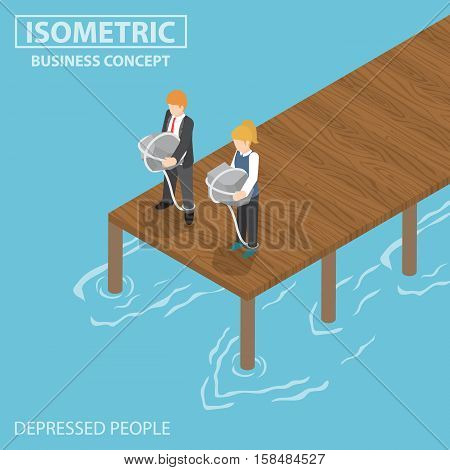 Isometric Depressed Businessman With Rock And Rope Thinking Of Suicide